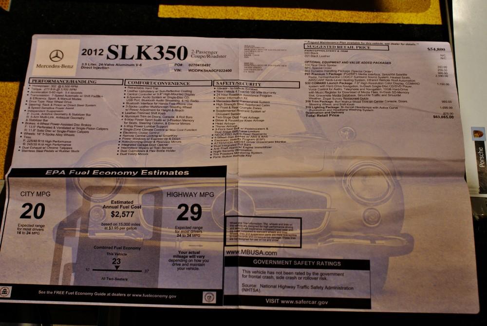 Used 2012 Mercedes Benz SLK Class SLK350